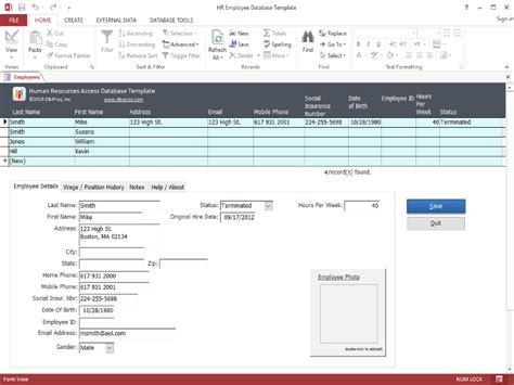 HR Employee MS Access Database Template 2
