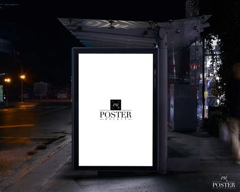 Bus Shelter PSD Poster Mockup For Outdoor Advertisement