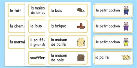 The Three Little Pigs Word Cards French - french, Three little