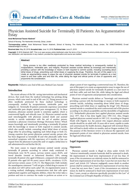 (PDF) Physician Assisted Suicide for Terminally Ill