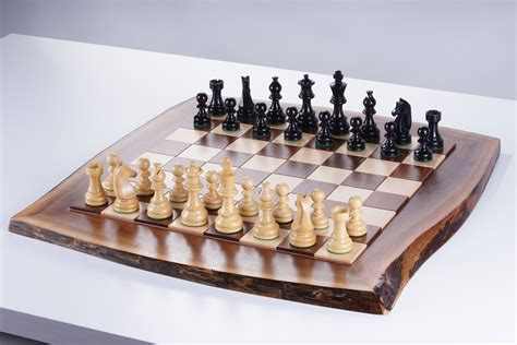 Live edge solid wood chessboard - Chess House