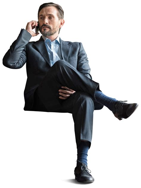 Office Businessman sitting with phone