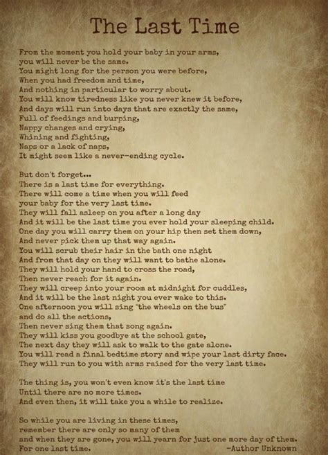 The Last Time- by Author Unknown- Beautiful Poem | Mom